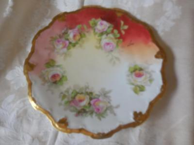 Vintage Limoges Coronet Plate hand Painted signed Luc scaloped edge w/ gold