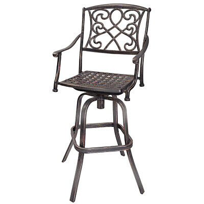 "30"" Cast Aluminum Swivel Bar Stool Patio Furniture Antique Copper Design Outdoor"