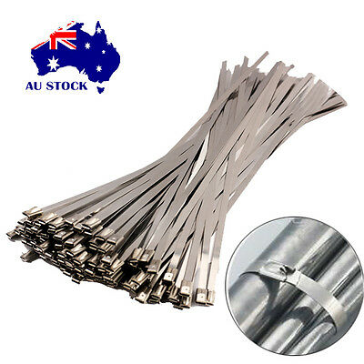 100Pcs 4.6x300mm Stainless Steel Cable Zip Ties Exhaust Wrap Coated Locking AU