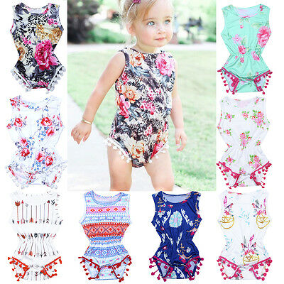 Newborn Infant Baby Kids Girl Sleeveless Floral Jumpsuit Romper Outfits Clothes