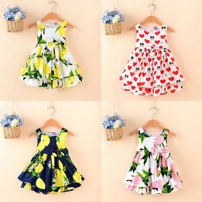 New Girls Baby Toddler Kid's Clothes Sleeveless Flower  Party Dresses Tutu Dress