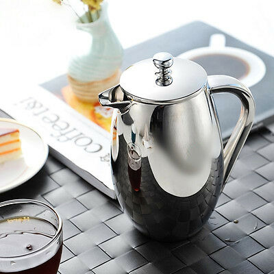 French Press Coffee Maker Cafetiere Stainless Steel Double Wall Plunger Filter