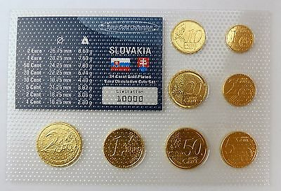 "#e7373 Slowakei ""Euro Gold Collection"" Münzsatz 2 Cent bis 2 Euro alle vergoldet"