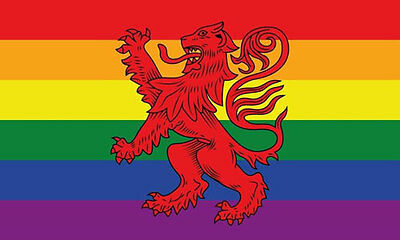 RAINBOW LION FLAG 5' x 3' Scottish Lion Rampant Scotland Gay Pride Festival LGBT