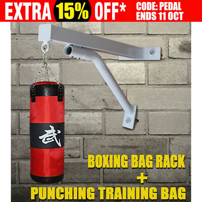 Punch Bag Wall Bracket Boxing Mount Hanging Stand + 100cm Punching Training Bag