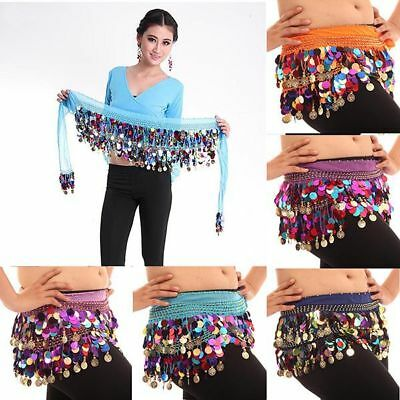 NEW Chiffon Belly Dance Hip Scarf Skirt Wrap Sequin Colorful Coins Waist Belt