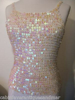 Designer Party Formal Bridal Dance Bodycon Cotton Candy Crochet Sequin Top S