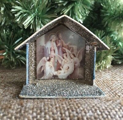 Antique Vintage German Mica Glitter Cardboard Nativity Creche and Mural Ornament
