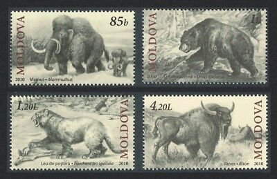 Moldova Mammoth Cave Bear Cave Lion Bison Extinct Fauna 4v issue 2010 MI#719-722