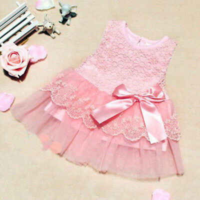 0-1Y Lovely Baby Girls Party Wedding Pageant Princess Robe Bow Flower Tutu Robe