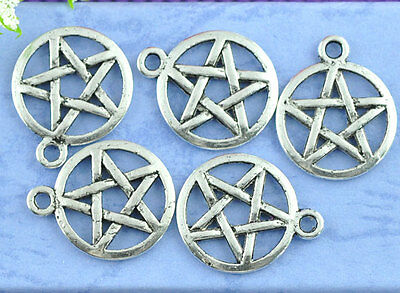 NG Hot 50PCs Silver Tone Pentagram Charms Theme Round Pentacle Pendants
