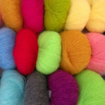 Colorful Soft comfortable Luxury Angola Mohair Cashmere Wool Yarn Skeins Winter