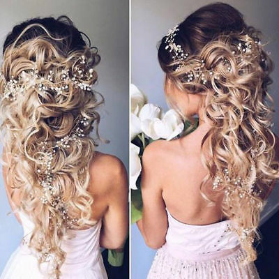 Vintage Boho Hair Vine Wedding Headband Hairband Bridal Silver Crystal 1M