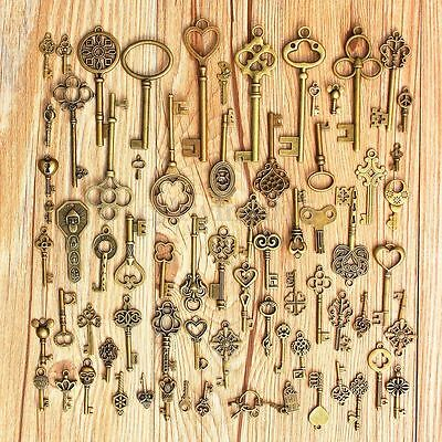 70pcs  Antique Vintage Old Look Bronze Skeleton Keys Fancy Heart Bow Pendant US