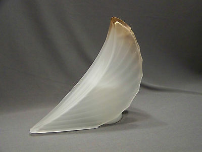 Vintage art deco french slip glass shade ceiling light fixture frosted gold tip