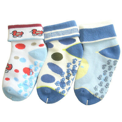 baby boys infants seamless winter warm towelling ankle socks gentle grip thermal