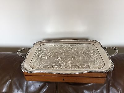 """SILVER PLATED RECTANGULAR 2 HANDLED BUTLERS TRAY  22.25"""" x 14""""   SPT 892"""