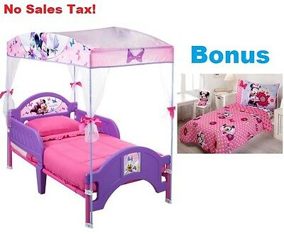 Toddler Bed W/ BONUS BEDDING Bundle Disney Minnie Mouse Kids Bedroom Furniture