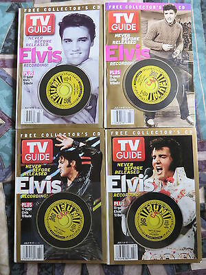 Four Different Elvis Presley Tv Guides With Unreleased Cd, Unopened