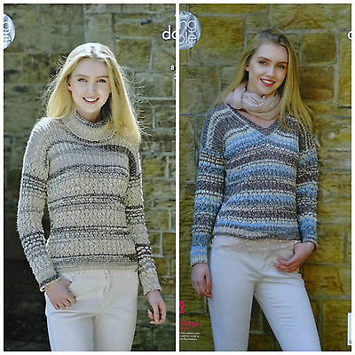 KNITTING PATTERN Ladies V-Neck or Polo Neck Lacy Jumper Drifter DK KingCole 4958