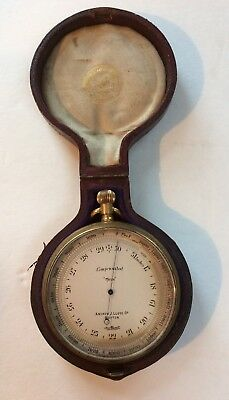 Antique Pocket Aneroid Barometer made by Andrew J. Lloyd Co. Boston