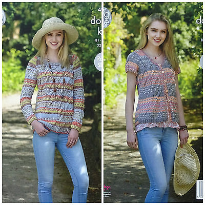KNITTING PATTERN Ladies Round Neck Jumper & Cardigan Drifter DK King Cole 4955