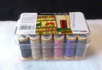 Gutermann : 100M Cotton Multipack Box Set 18 Spools Assorted Colours