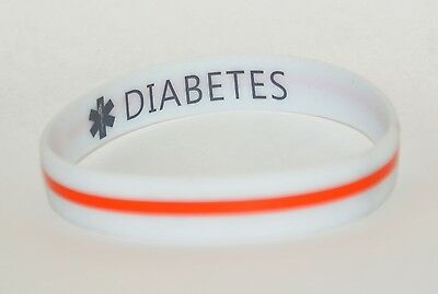 Silicone Medical Alert Bracelet Double Sided DIABETES Print Length 21cm