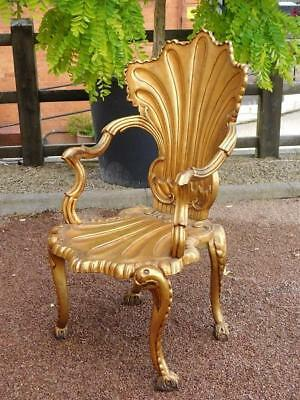A Highly Decorative Vintage Carved Wooden Gilded Grotto Chair Armchair