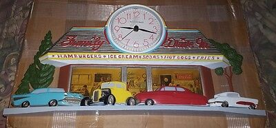 Vintage 1988 Coca Cola Family Drive-In Clock Burwood USA 2899 Works Hot Rods Car