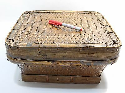 Ifugao Vintage Square Lidded Rice Basket From The Philippines