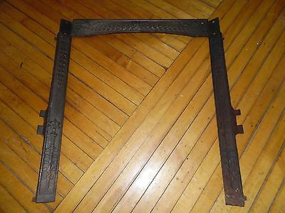 Antique Ornate Floral Victorian Cast Iron Fireplace Door Frame Mantle