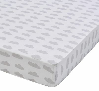 NEW Tesco Grey Weather Printed Cot Bed Sheets - 2 Pack