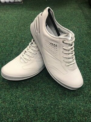 Brand New Ecco Men's White Cage Pro Golf Shoes Size 43 FREE Shoe Care Kit
