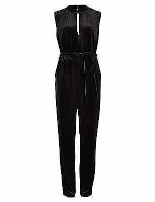 bnwt PER UNA MARKS & SPENCER JUMPSUIT UK 22 Eur50 BLACK VELOUR BELTED SLEEVELESS