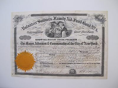 City Of New York Civil War Bond, Volunteer Soldiers Family Aid Fund Bond No. 3