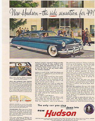 1949 Hudson The Modern 49 Ride Sensation Art Ad