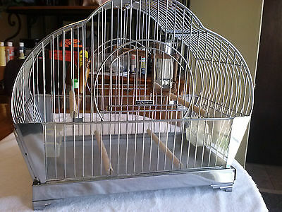 Vtg. Antique Art Deco Hendryx Chrome Bird Cage Canary Parakeet Finch Beautiful