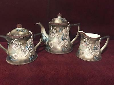 3-Pc Collectible Vintage Nippon Hand Painted Moriage Beaded Dragon Tea Pot Set