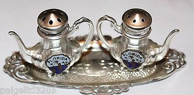 Made in Japan Metal Silver Plated Florida Salt & Pepper Shakers w/ Tray Souvenir