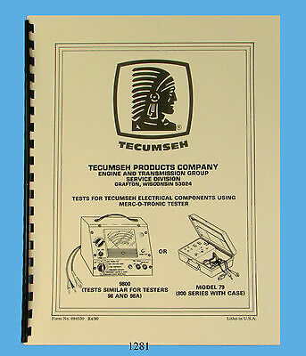 Merc-O-Tronic Test Instructions & Specs for Tecumseh Ignition Parts Manual *1281