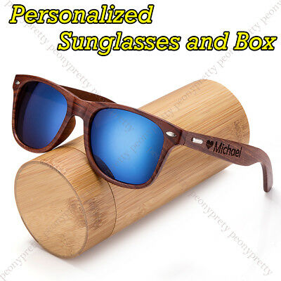 Personalised Engraving Walnut Wood Mirrored Sunglasses Groomsmen Birthday Gift x