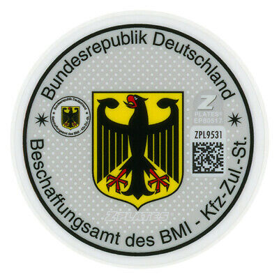 Police German License Plate Registration Seal & Inspection Sticker Set