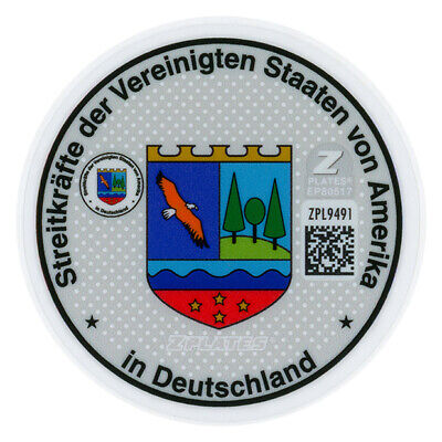 US Forces in Germany German License Plate Registration Seal & Inspection Sticker