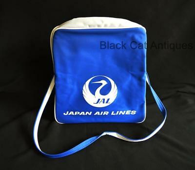 Vintage Japan JAL Airlines Blue & White Flight/Travel Shoulder Bag