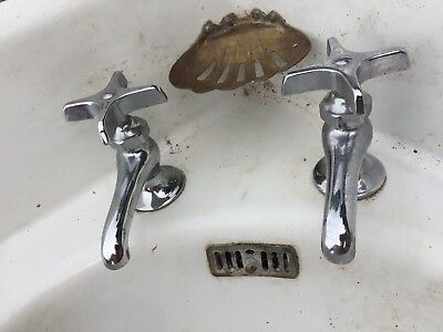Vintage Hot Cold sink Faucets VERY CLEAN Deck Mount W brass soap dish FREE SHIP