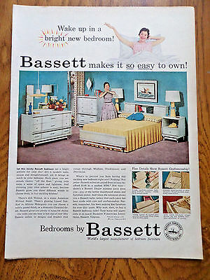 1956 Bassett Furniture Ad  Wake up in a Bright New Bedroom