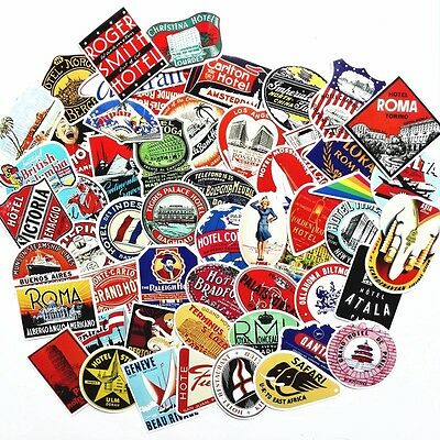 15 Travel Luggage Suitcase retro style vinyl stickers vintage, Hotels Airline