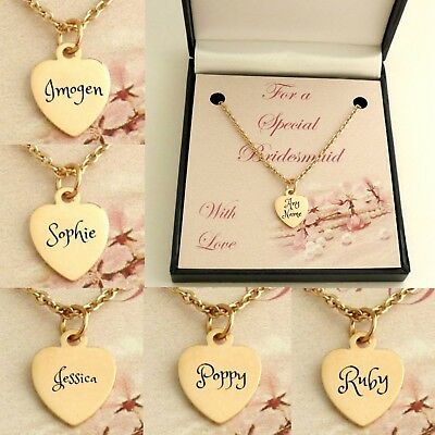 Rose Gold Name Necklaces for Bridesmaids & Flower girls, Wedding Thank You Gifts