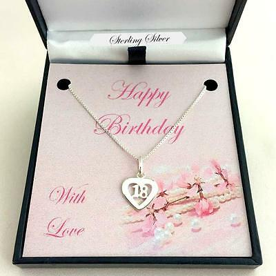 Jewellery for 18th Birthday. Sterling Silver 18 Necklace in Special Gift Box